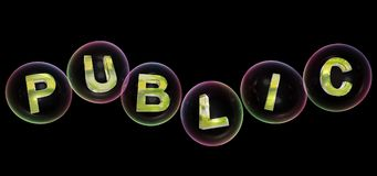 The public word in bubble. The public word in soap bubble on black background,3d rendered Stock Photo