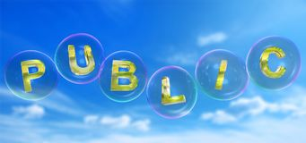 The public word in bubble. The public word in soap bubble on blue sky background,3d rendered Royalty Free Stock Photo