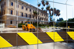 Public works zone. Restricted area. Stock Images