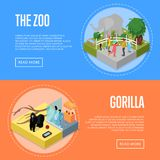 Public zoo isometric 3D posters set. Public zoo with wild animals and visitors isometric 3D posters set. People near elephant and gorilla in cages. Zoo Stock Photography