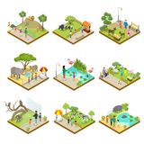 Public zoo landscapes isometric 3D set. Public zoo with wild animals landscapes isometric 3D set. Lion, monkey, hippopotamus, zebra, tapir, deer, flamingo stock illustration