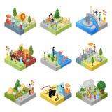 Public zoo landscapes isometric 3D set. Public zoo with wild animals landscapes isometric 3D set. Lion, behemoth, zebra, giraffe, flamingo, gorilla, elephant Stock Photo