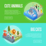 Public zoo isometric 3D posters set. Public zoo with wild animals and visitors isometric 3D posters set. People near lion and hippopotamus in cages. Zoo Royalty Free Stock Photo