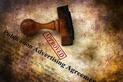 Publication advertising agreement approved stock photography