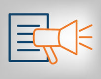 Publication icon. Megaphone with information list. Laconic blue and orange lines on gray background. Isolated vector object.  Stock Photo