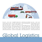 Publication template logistics. Contains the globe, ship, train, motor hauler columns of text and title Royalty Free Stock Images