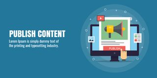 Publiceer inhoud, digitale inhoud marketing, ontwikkeling, distributie, publicatie, inhoudsbevordering, bereikpubliek via inhoud stock illustratie