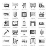 Publicidad al aire libre, iconos planos del glyph del márketing comercial Cartelera, letrero de la calle, anuncios del tránsito,  ilustración del vector