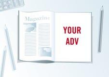 Publicidad de formato de la presentación de la paginación. Foto de archivo