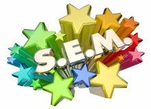 Publicidad de la campaña de SEM Search Engine Marketing Stars Imágenes de archivo libres de regalías
