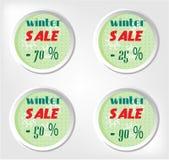 Publicidad de la etiqueta con venta del invierno del texto, cuatro Imágenes de archivo libres de regalías