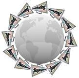 Publicidad de marcado en caliente de los megáfonos del megáfono del márketing alrededor del mundo ilustración del vector