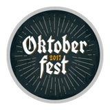 Publicidad del diseño para el práctico de costa Letras 2017 de Oktoberfest con los rayos ilustración del vector
