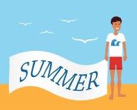 Publicidad del verano Hombre en la playa que sostiene la bandera con el anuncio Ejemplo plano del vector Foto de archivo libre de regalías