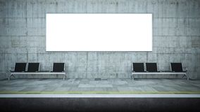 publicidad horizontal en blanco de la cartelera en la estación del metro stock de ilustración