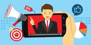 Publicidad video del márketing con el contenido viral Fotografía de archivo