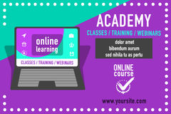 Publicité en ligne d'éducation Images libres de droits