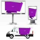 Publicité extérieure de calibre ou identité d'entreprise sur la voiture, le panneau d'affichage et le citylight Images stock