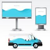 Publicité extérieure de calibre ou identité d'entreprise sur la voiture, le panneau d'affichage et le citylight Image stock