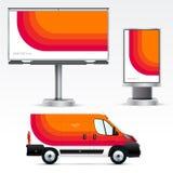 Publicité extérieure de calibre ou identité d'entreprise sur la voiture, le panneau d'affichage et le citylight Image libre de droits