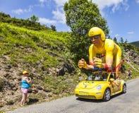 Publiciteitscaravan in de Pyreneeën Stock Fotografie