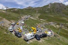 Publiciteitscaravan op Col. du Tourmalet - Ronde van Frankrijk 2018 Stock Afbeeldingen
