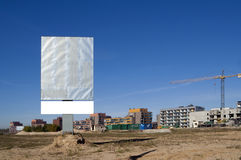 Publicity board about sale of new apartments Stock Image