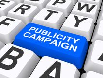 Publicity campaign. Blue publicity campaign key on a keyboard Royalty Free Stock Photography