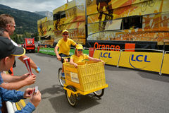 Publicity Caravan, Tour de France 2017. SERRE-CHEVALIER , FRANCE - JULY 19, 2017.The spectacle of Publicity Caravan at the Stage 17 in Serre Chevalier , route La Stock Photography