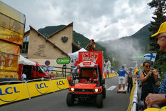 Publicity Caravan, Tour de France 2017. SERRE-CHEVALIER , FRANCE - JULY 19, 2017.The spectacle of Publicity Caravan at the Stage 17 in Serre Chevalier , route La Royalty Free Stock Photos