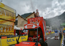 Publicity Caravan, Tour de France 2017. SERRE-CHEVALIER , FRANCE - JULY 19, 2017.The spectacle of Publicity Caravan at the Stage 17 in Serre Chevalier , route La Royalty Free Stock Photography