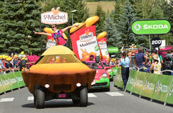 Publicity Caravan, Tour de France 2017. SERRE-CHEVALIER , FRANCE - JULY 19, 2017.The spectacle of Publicity Caravan at the Stage 17 in Serre Chevalier , route La Stock Images