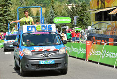 Publicity Caravan, Tour de France 2017. SERRE-CHEVALIER , FRANCE - JULY 19, 2017.The spectacle of Publicity Caravan at the Stage 17 in Serre Chevalier , route La Stock Photos