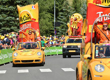 Publicity Caravan, Tour de France 2017. SERRE-CHEVALIER , FRANCE - JULY 19, 2017.The spectacle of Publicity Caravan at the Stage 17 in Serre Chevalier , route La Royalty Free Stock Photo