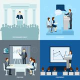 Publicly speaking people 4 flat icons square Royalty Free Stock Photography