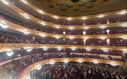 Publiek bij Beethoven-Overleg in Gran Teatre del Liceu stock afbeelding