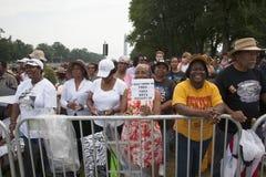 Publikum auf dem nationalen Mall hört auf Präsidentenreden Stockbilder