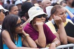 Publikum auf dem nationalen Mall hört auf Präsidentenreden Stockbild