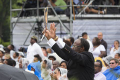 Publikum auf dem nationalen Mall hört auf Präsidentenreden Lizenzfreie Stockfotografie