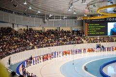 Publikum an der Zeremonie des Beleuchtens der Kopie der olympischen Flamme Lizenzfreie Stockbilder