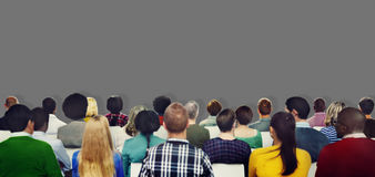 Publikums-zufällige Verschiedenartigkeits-Leute, die Konzept treffen stockfoto