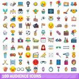 100 Publikumsikonen eingestellt, Karikaturart Lizenzfreies Stockfoto