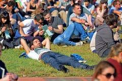 Publikumsuhr ein Konzert an Ton-Festival 2014 Heinekens Primavera (PS14) Stockfoto