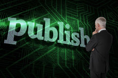 Publish against green and black circuit board Royalty Free Stock Photo