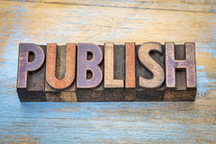 Publish word abstract in wood type Royalty Free Stock Images
