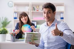 Pulisher discussing book order with customer. Publisher discussing book order with customer Stock Image