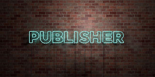 PUBLISHER - fluorescent Neon tube Sign on brickwork - Front view - 3D rendered royalty free stock picture Royalty Free Stock Image