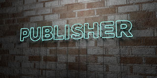 PUBLISHER - Glowing Neon Sign on stonework wall - 3D rendered royalty free stock illustration Royalty Free Stock Photo