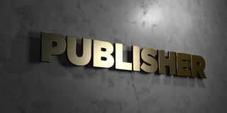 Publisher - Gold sign mounted on glossy marble wall  - 3D rendered royalty free stock illustration Stock Photos