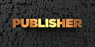 Publisher - Gold text on black background - 3D rendered royalty free stock picture Royalty Free Stock Image